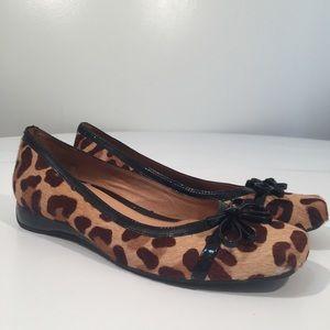 Nurture calf hair leopard print square toe shoes 8